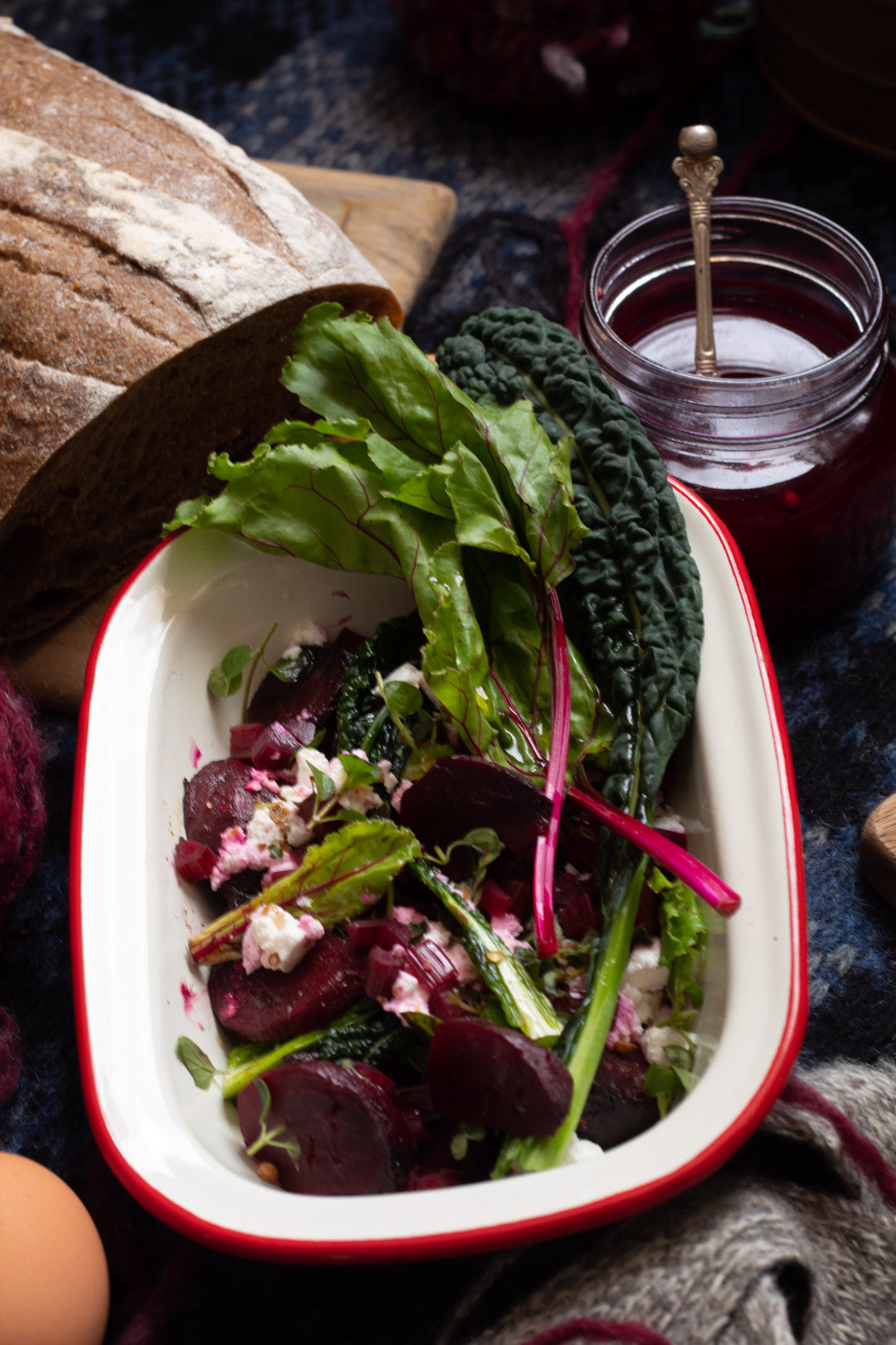 beetroot salad picnic: roasted beetroot, beetroot stem quick pickle, beetroot leaves - use up all of your beetroot