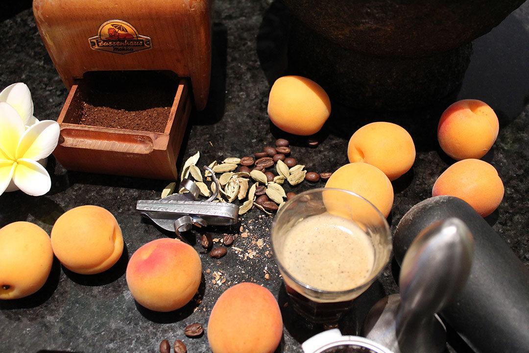 cardamom coffee with frangipani