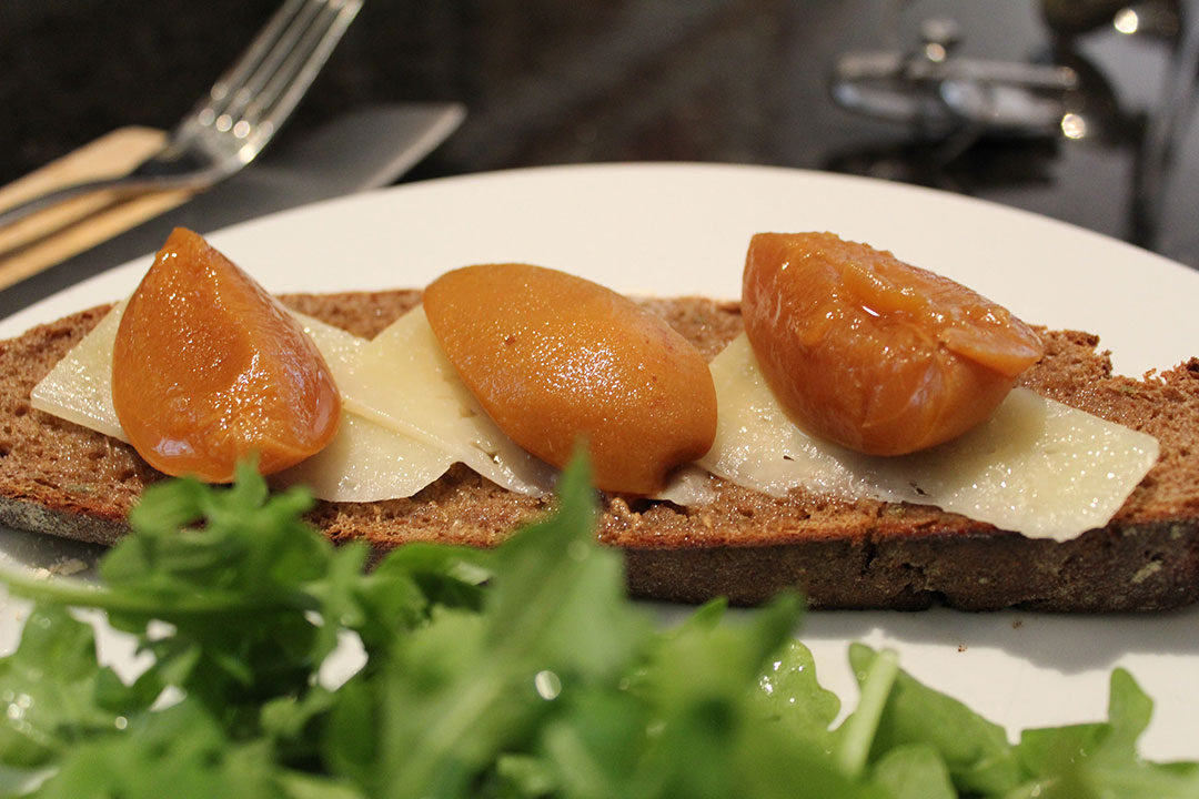 pickled apricots on toast