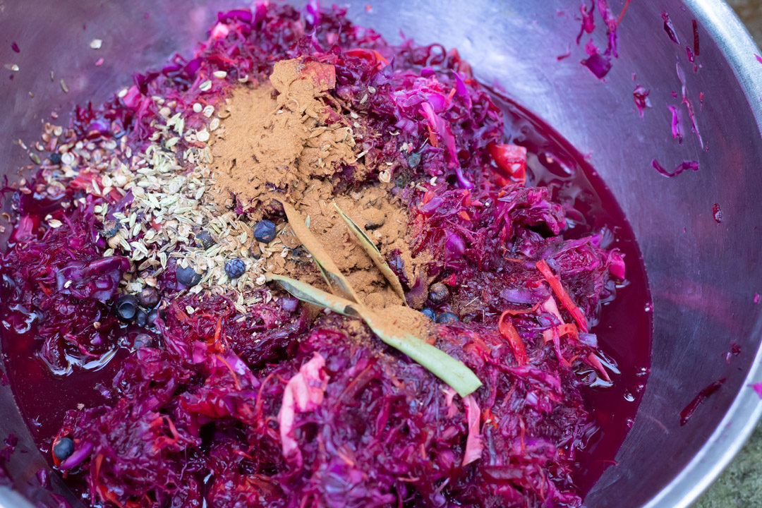 spiced beetroot sauerkraut mixing