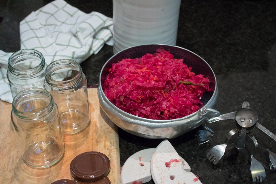 pink-purple sauerkraut decanting