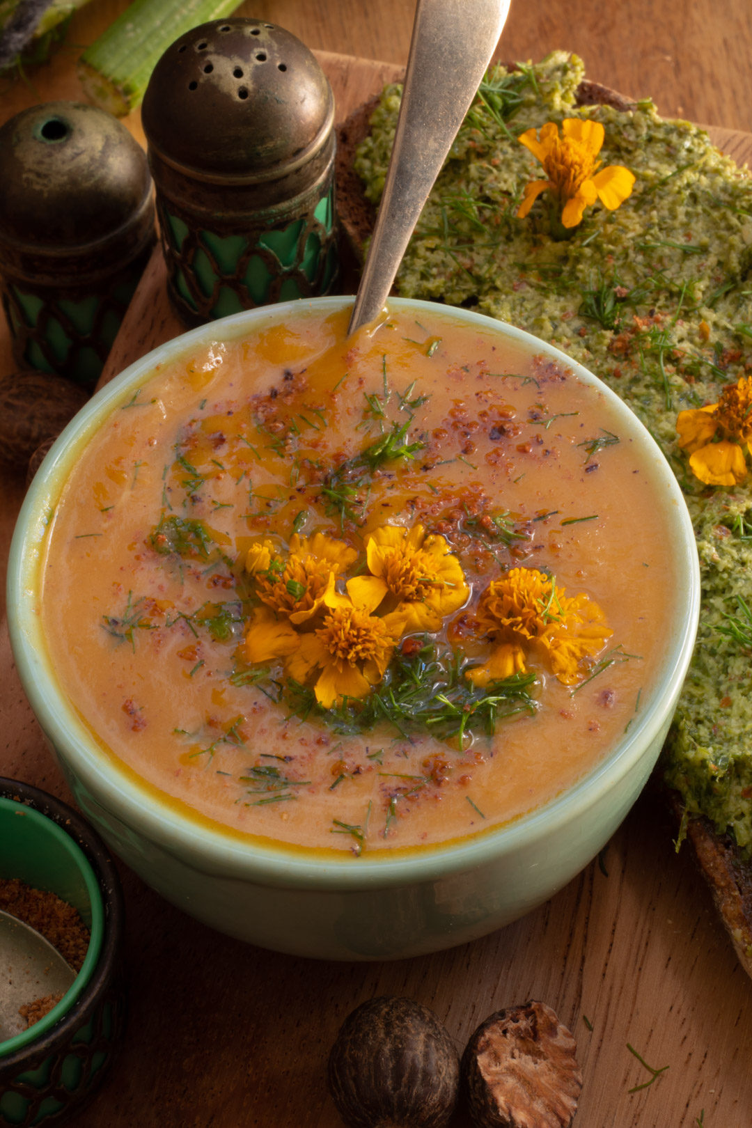 pumpkin and fennel soup with tarragon, fennel tops and nutmeg - close up
