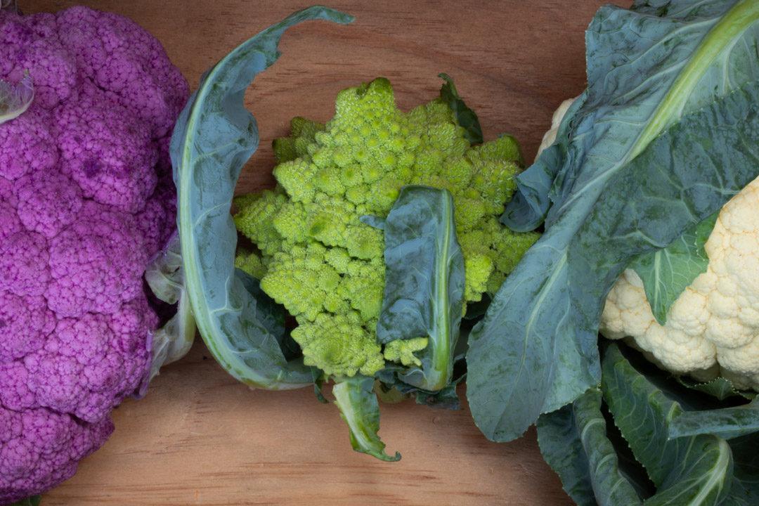 romanesco, purple and white cauliflowers