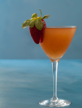 dirty pickled rhubarb martini with pink pepper & star anise