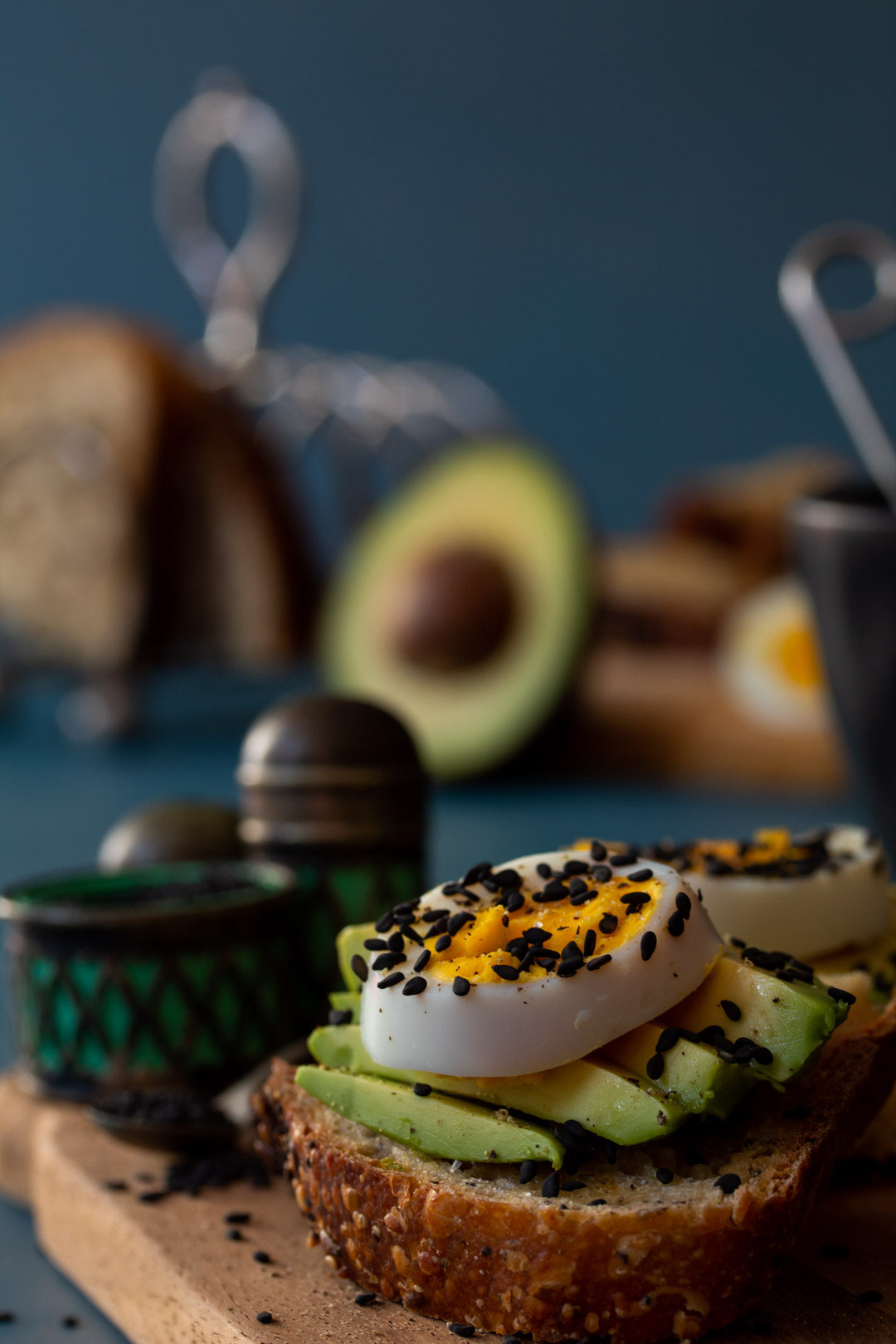avocado toasts with hard boiled eggs