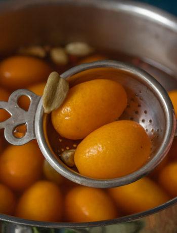 pickling cumquats with strainer