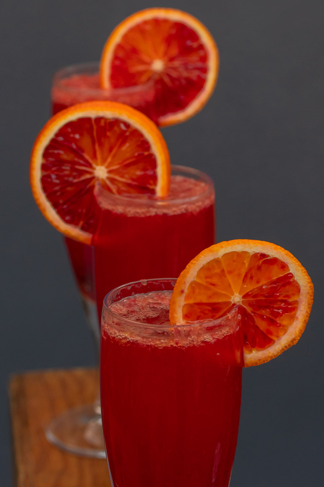 pickled cherry blood orange prosecco from above