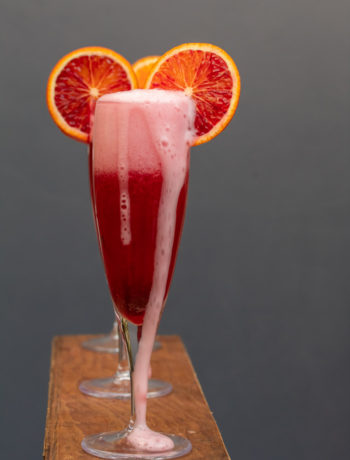 pickled cherry blood orange prosecco overflowing