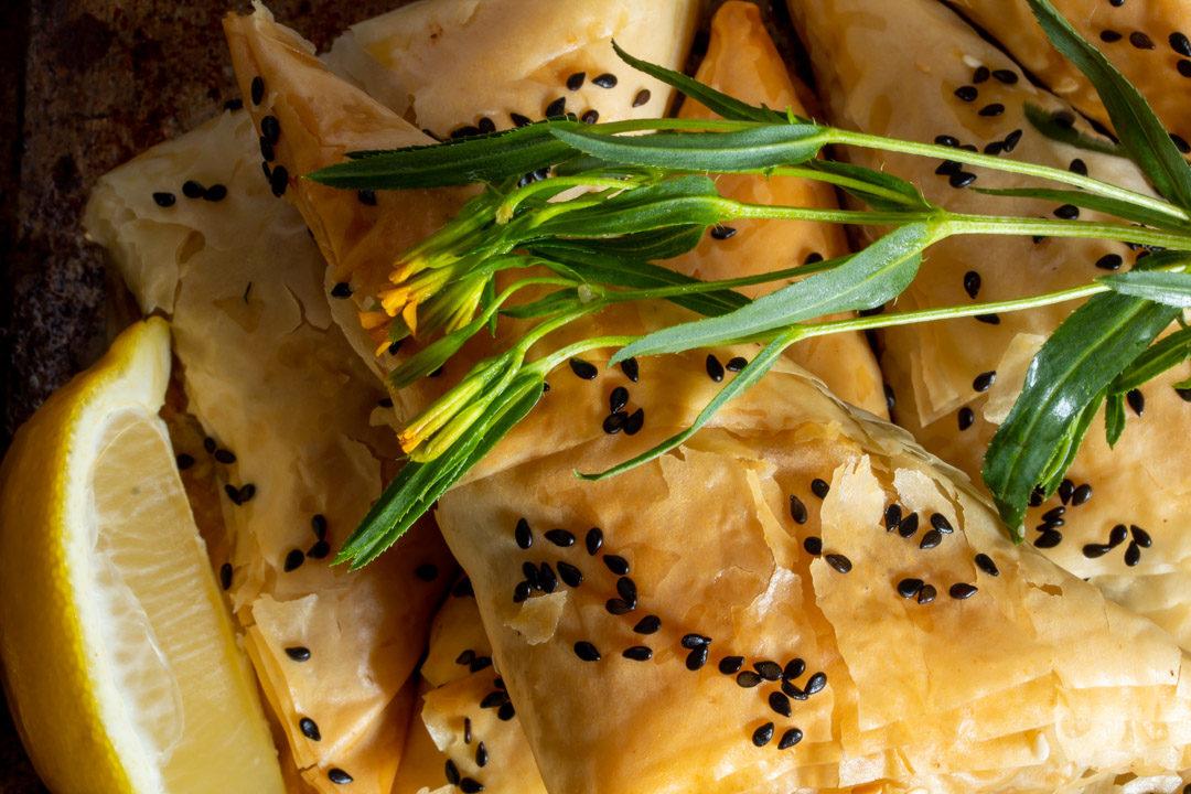 beetroot leaf filo with lemon and tarragon