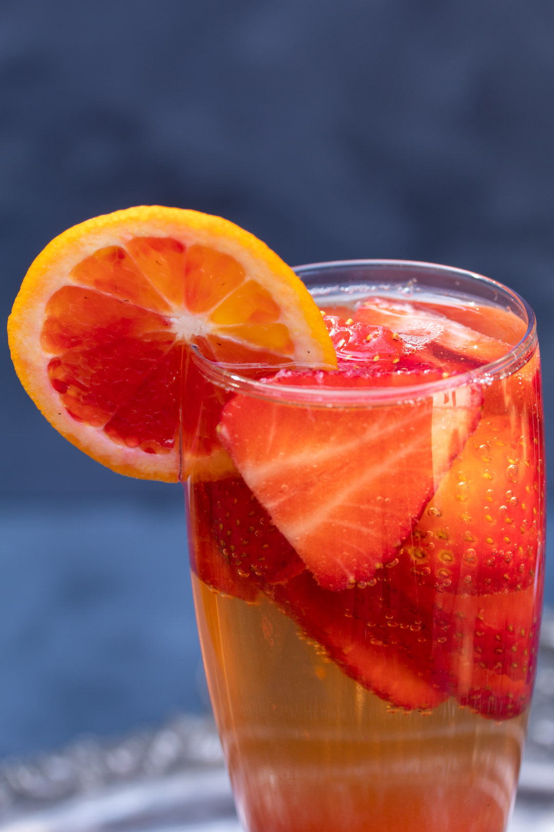 blood orange and strawberry champagne cocktail