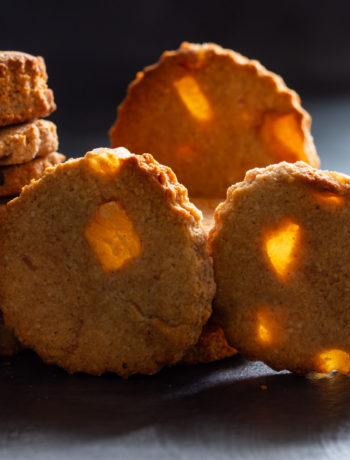 ginger cookies with back light shining through the ginger like windows