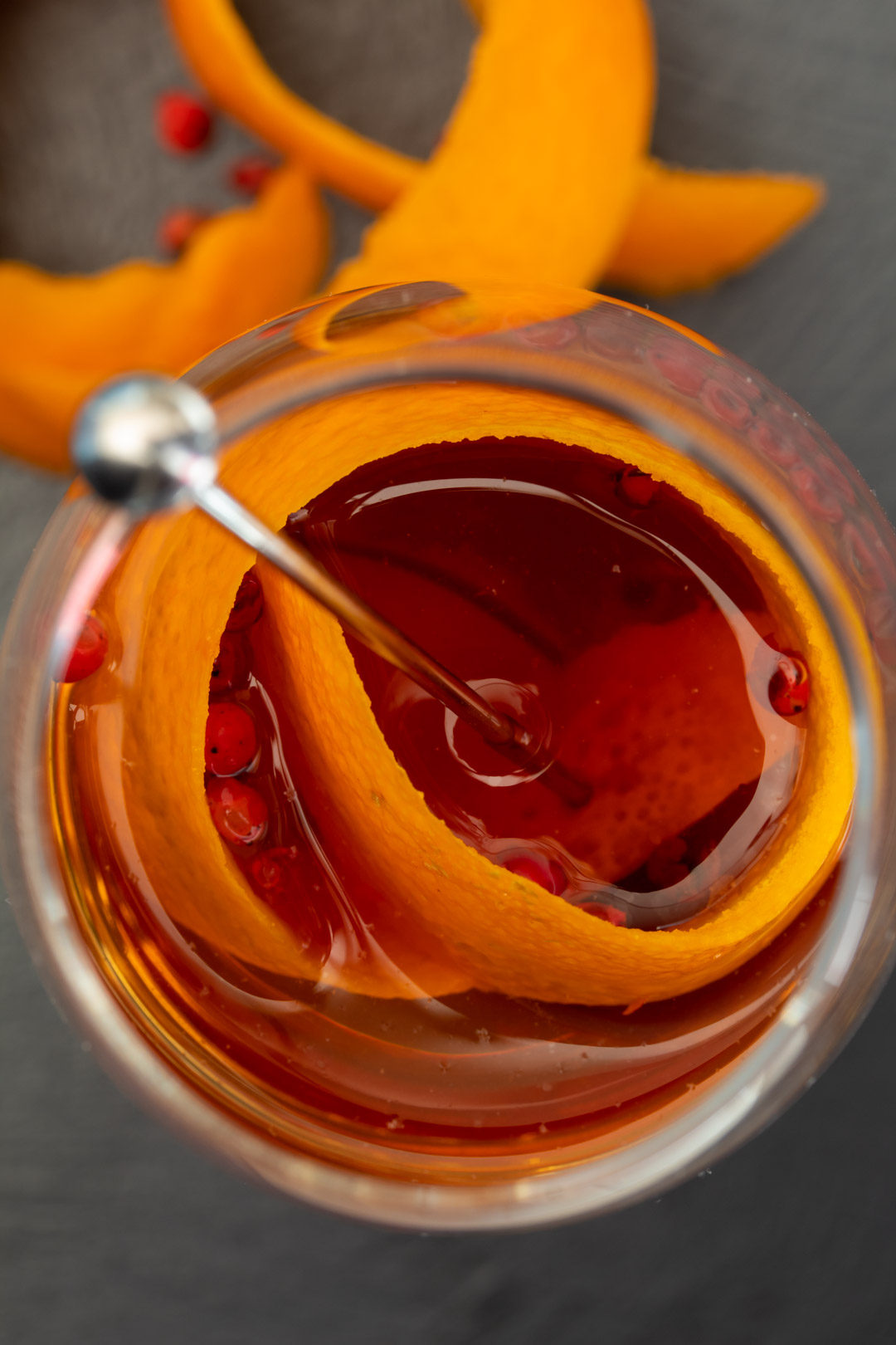 new old fashioned from above with orange peel