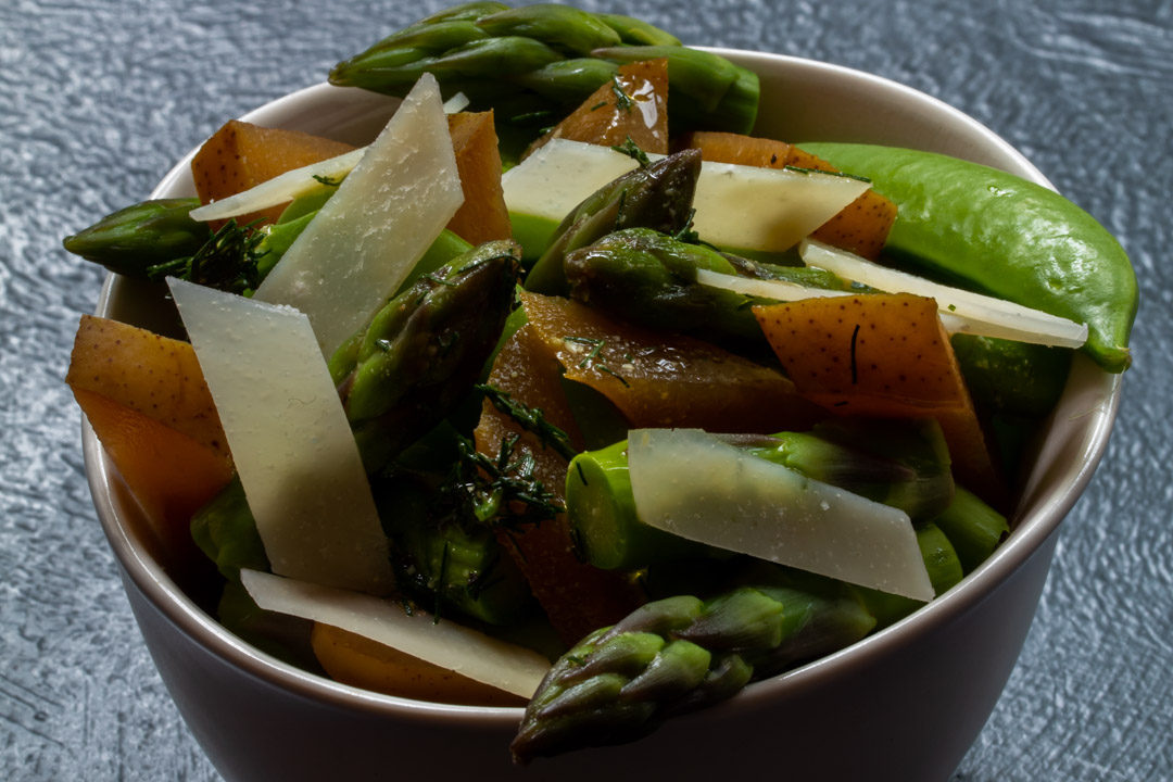 Asparagus and sugar snap pea salad with pear pickle: 45 degrees
