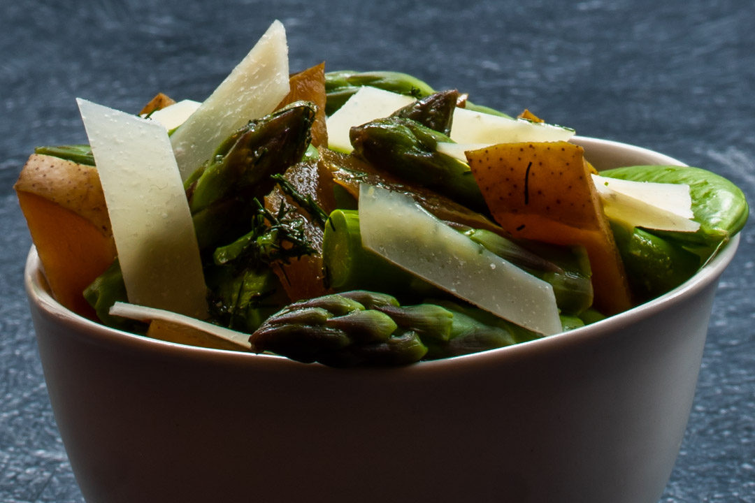 asparagus and sugar snap pea salad: eye level