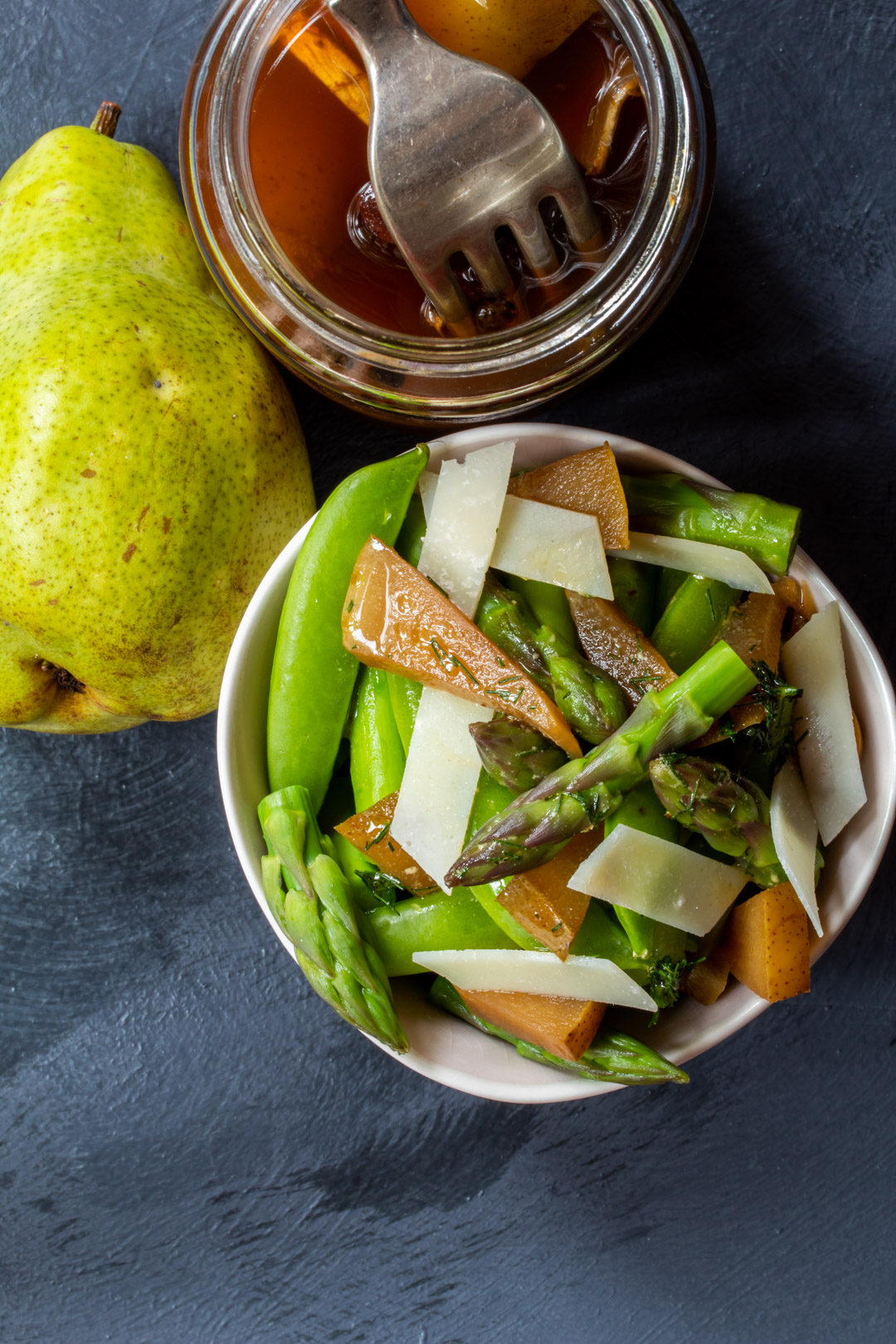asparagus and sugar snap pea salad: pear lying down