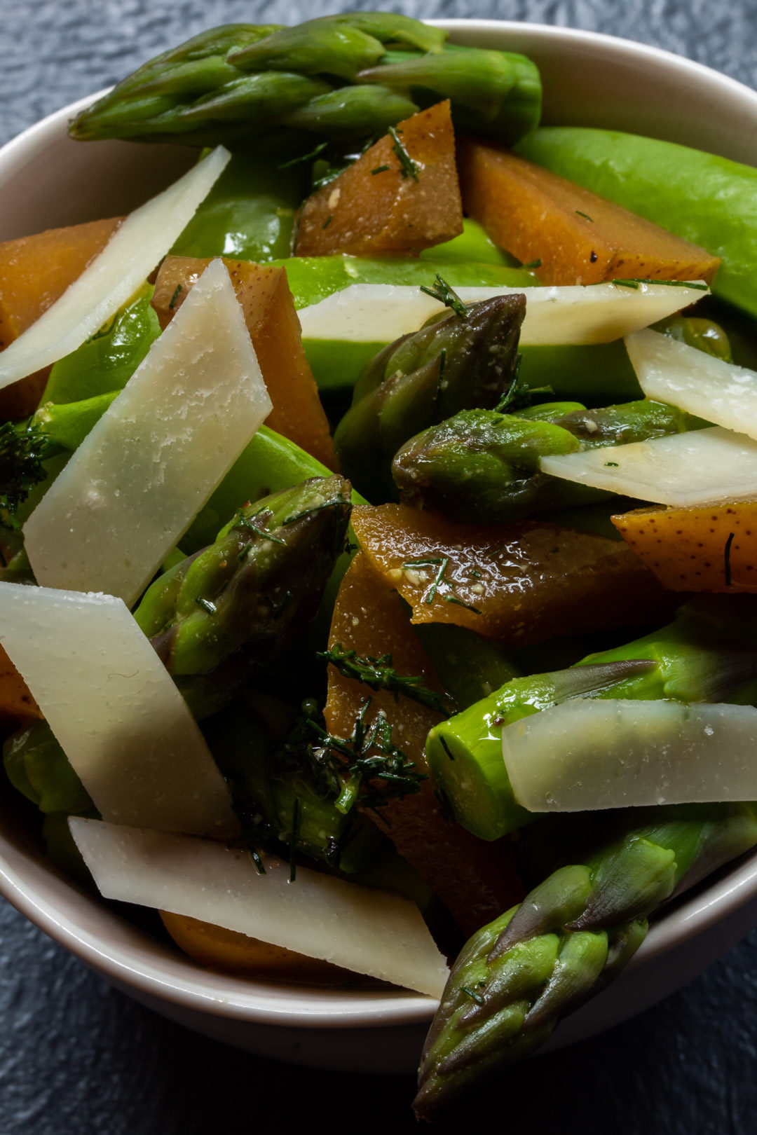 Asparagus and sugar snap pea salad with pear pickle
