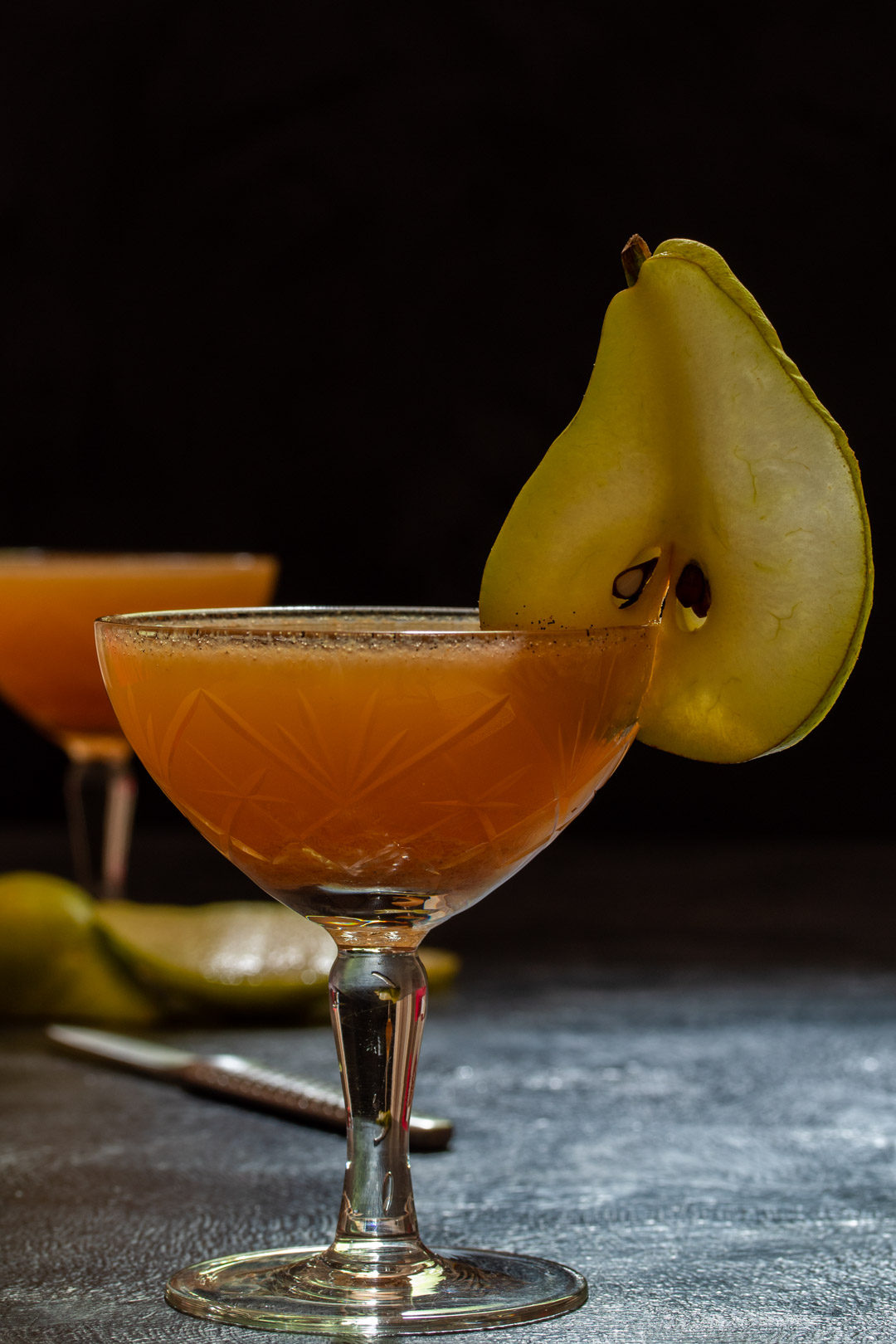 spiced ginger pear shrub: making pear garnishes