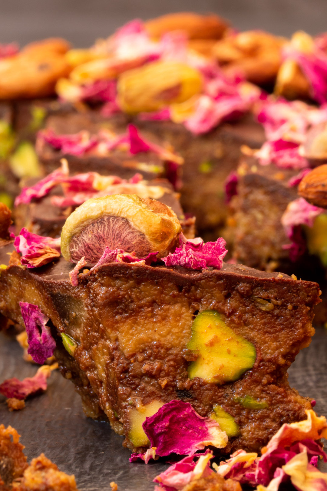 Spiced raw cacao halva with pistachios, ginger, cardamom and rose: pistachio detail