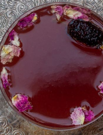 mulberry rose champagne cocktail: from above close up