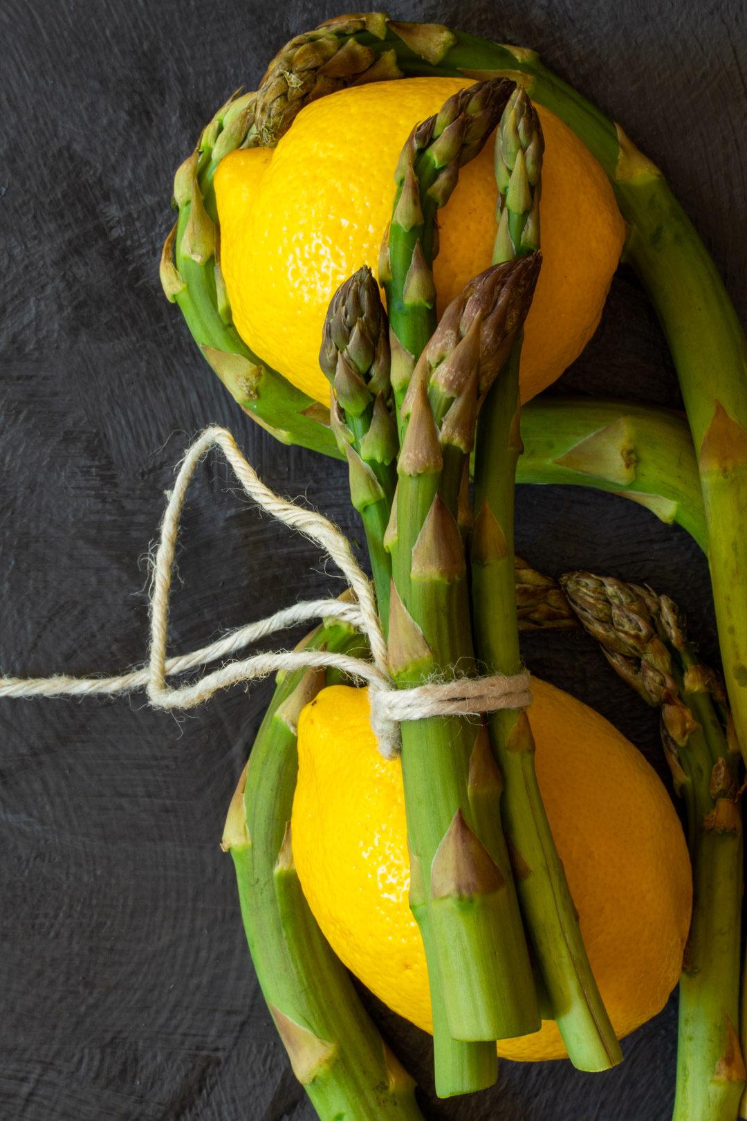 asparagus & lemon tart: asparagus and lemon still life flatlay