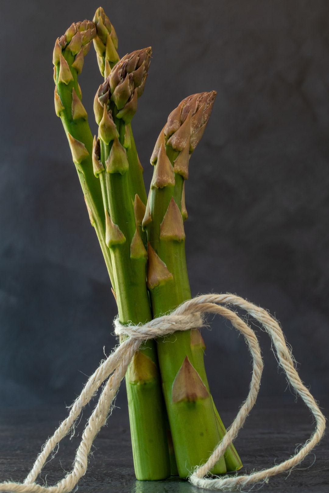 asparagus & lemon tart: asparagus still life with grey background