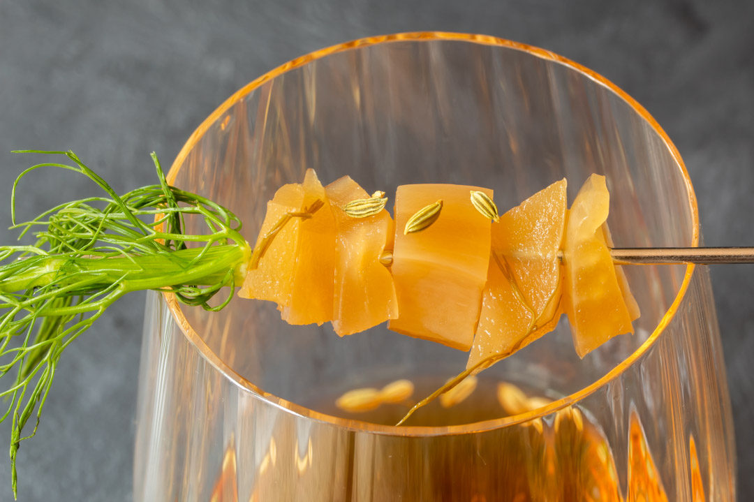 fennel pickle old fashioned cocktail: close up