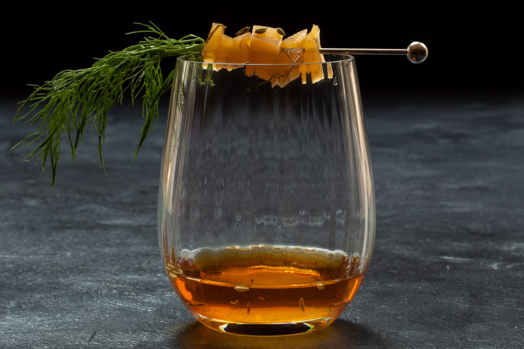 fennel pickle old fashioned cocktail: eye level