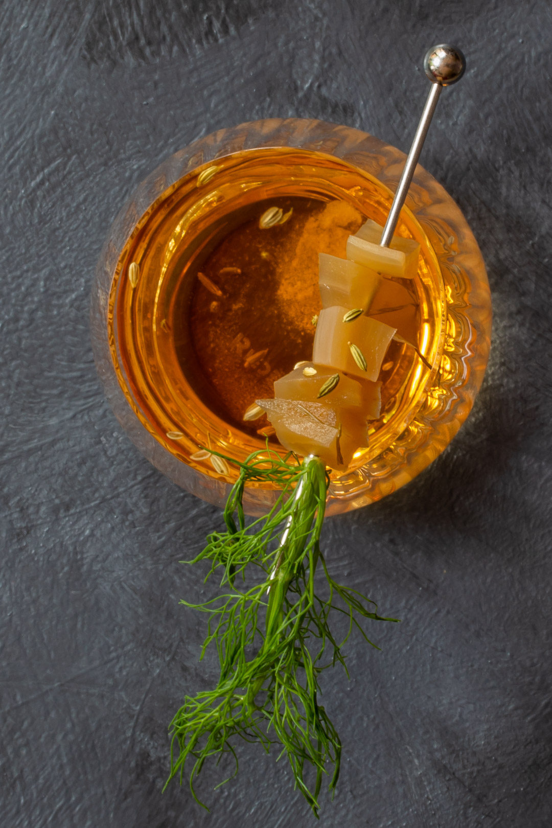 fennel pickle old fashioned cocktail: from above 1 O'Clock