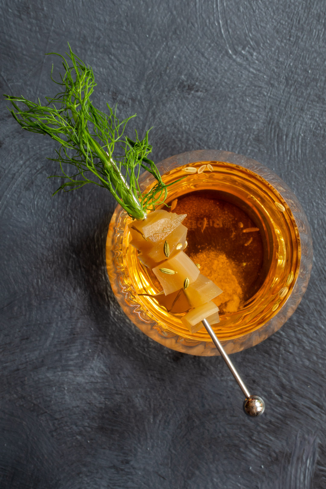 fennel pickle old fashioned cocktail: from above 5 O'Clock