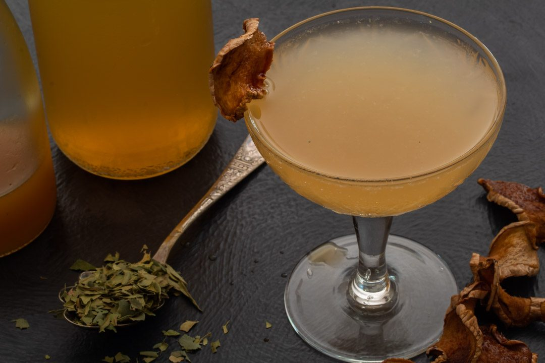 Ginger lime shrub daiquiri with cinnamon myrtle and ginger crisps: 45 degrees