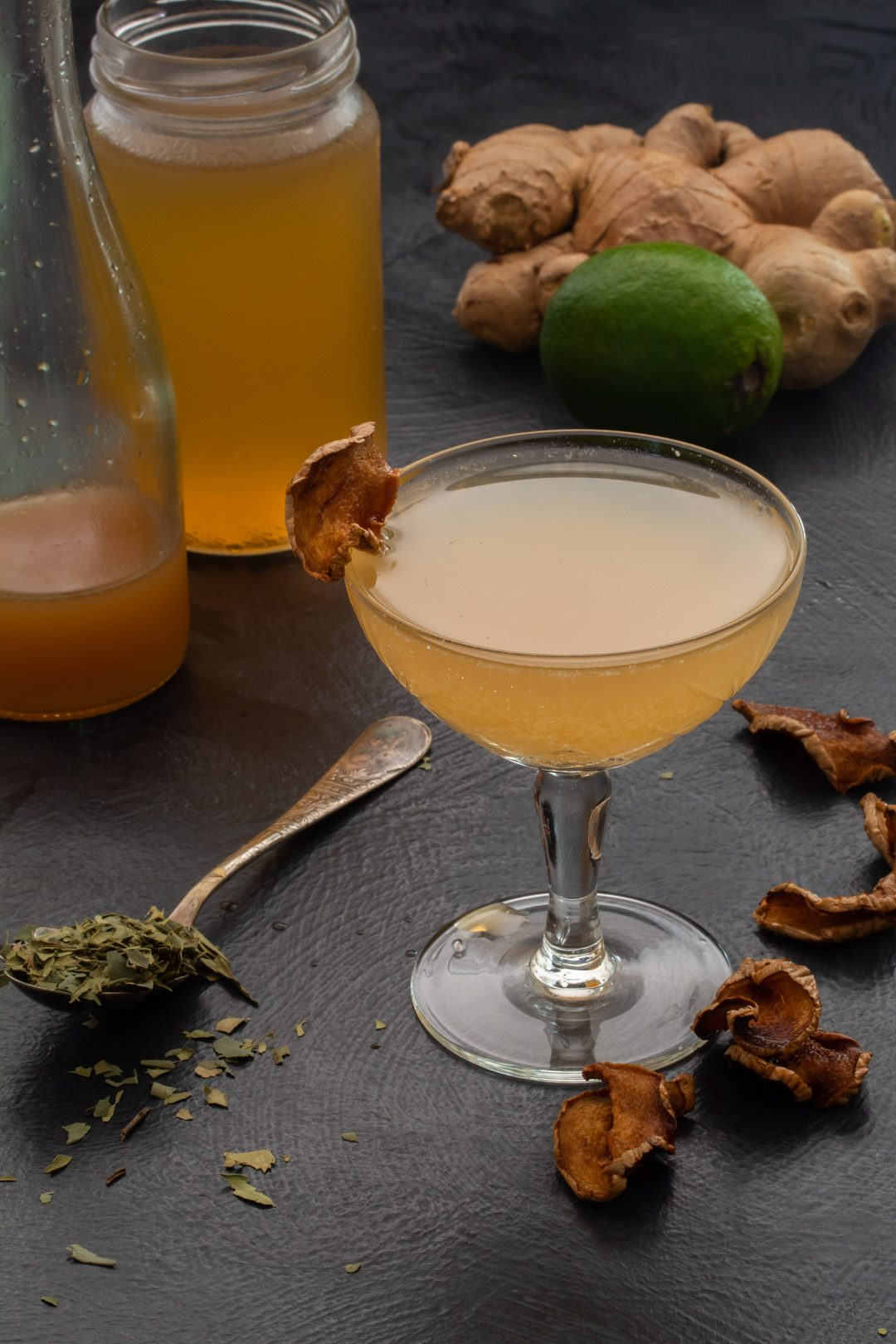 Ginger lime shrub daiquiri with cinnamon myrtle and ginger crisps: 45 degrees making, ginger lime detail