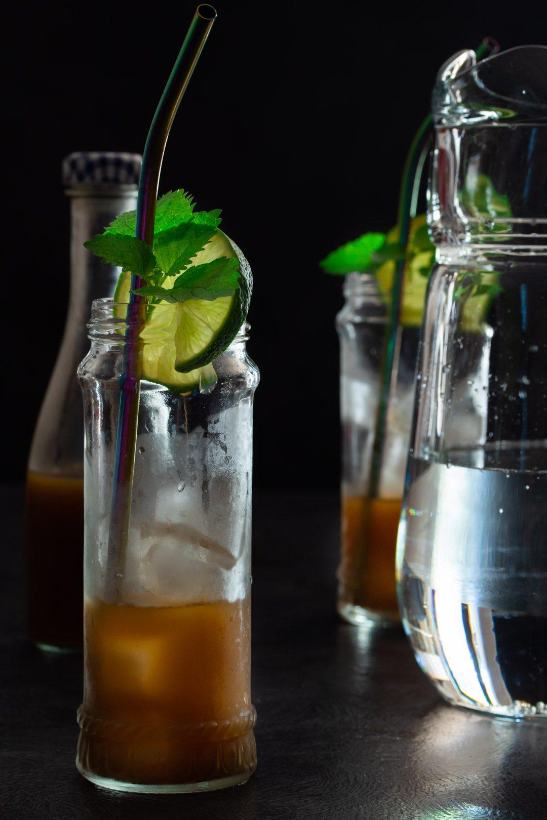 Ginger lime shrub syrup drinking vinegar