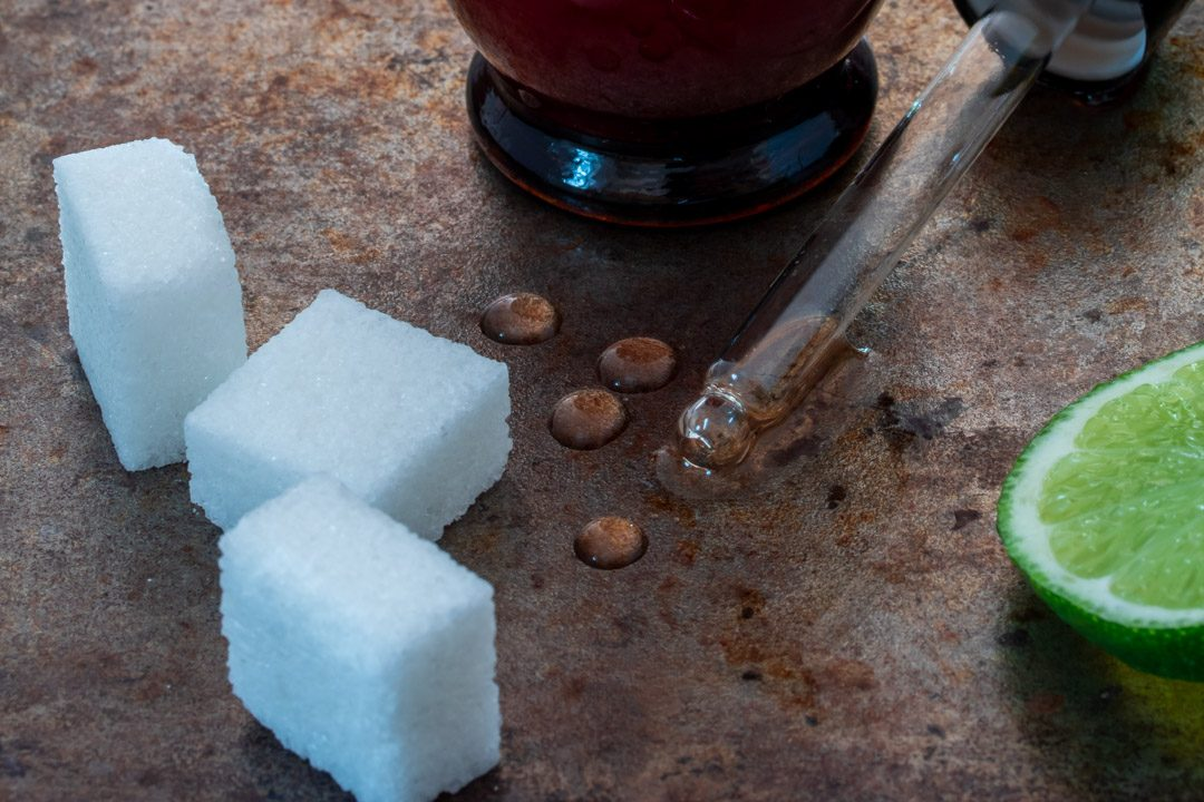 rhubarb cacao bitters with wattleseed: four drops detail