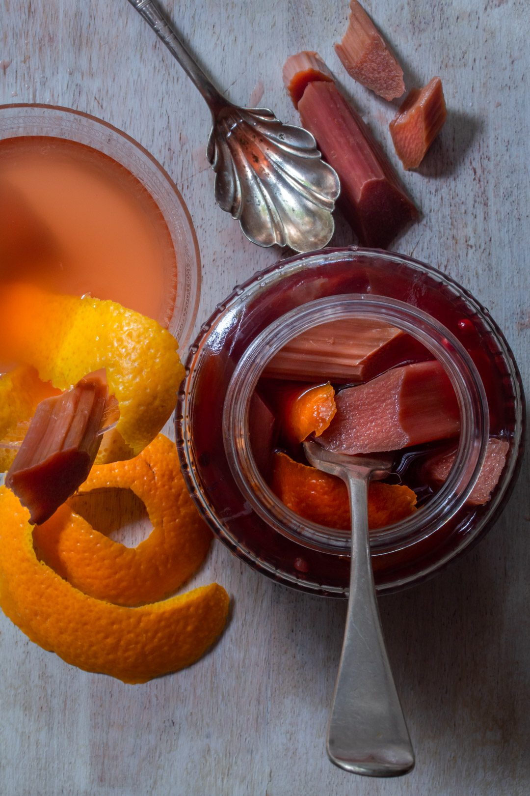 Rhubarb quick pickle with cinnamon myrtle, ginger, pink pepper & orange: with pickle detail