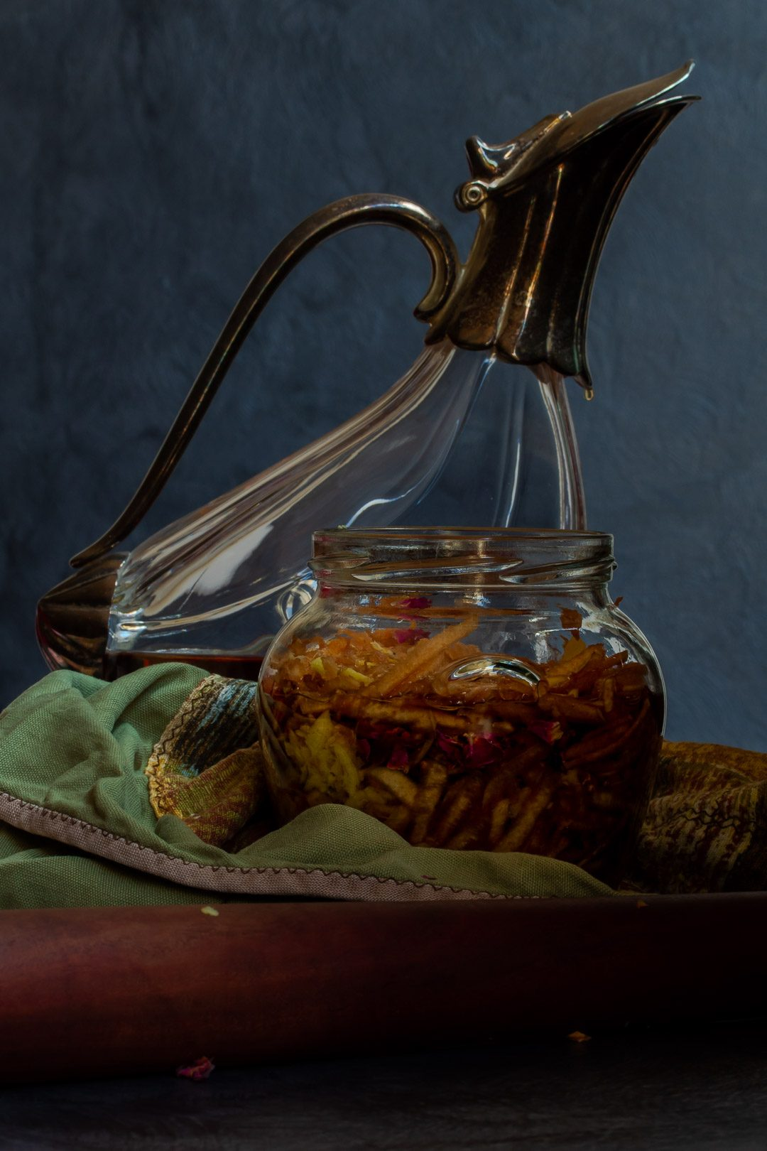 Making Vintage Quince Cordial with decanter in background