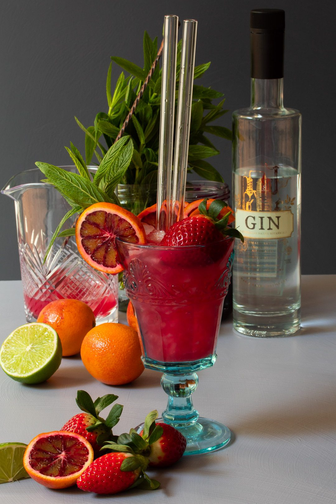 blood orange pomegranate gin daisy cocktail with mixing glass, fresh fruit, gin bottle, mint from 45 degrees