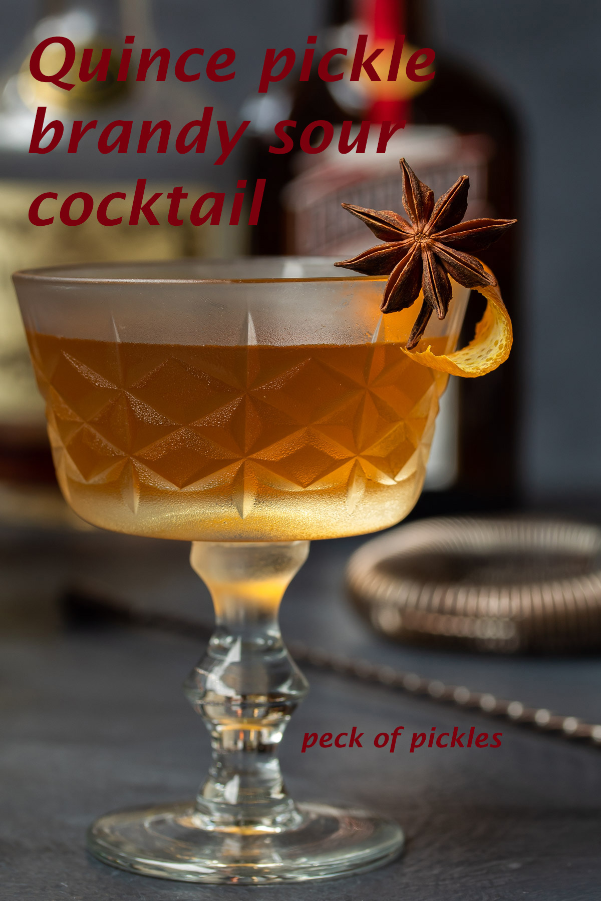 quince pickle brandy sour cocktail | peck of pickles