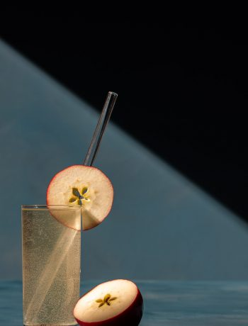 apple shrub gin fizz cocktail with shadows and lines