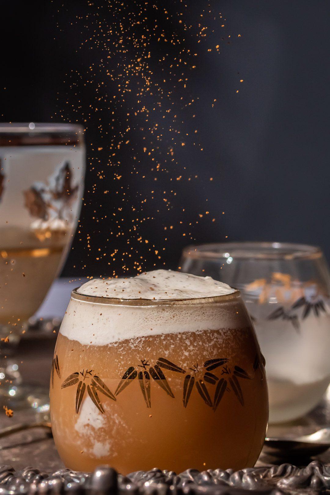 sprinkling cinnamon on lemon myrtle ginger beer spiders