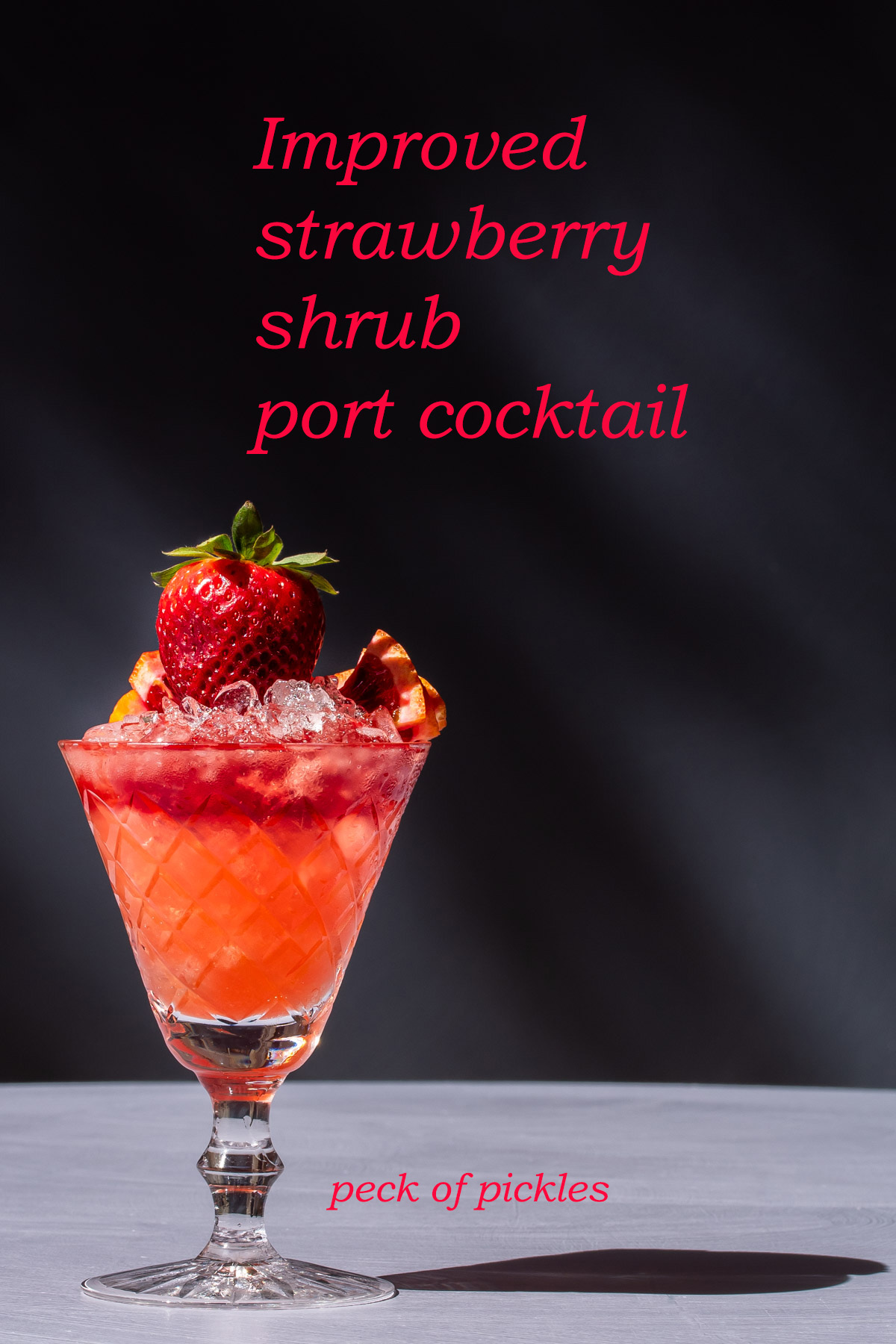 improved strawberry shrub port cocktail with shadow