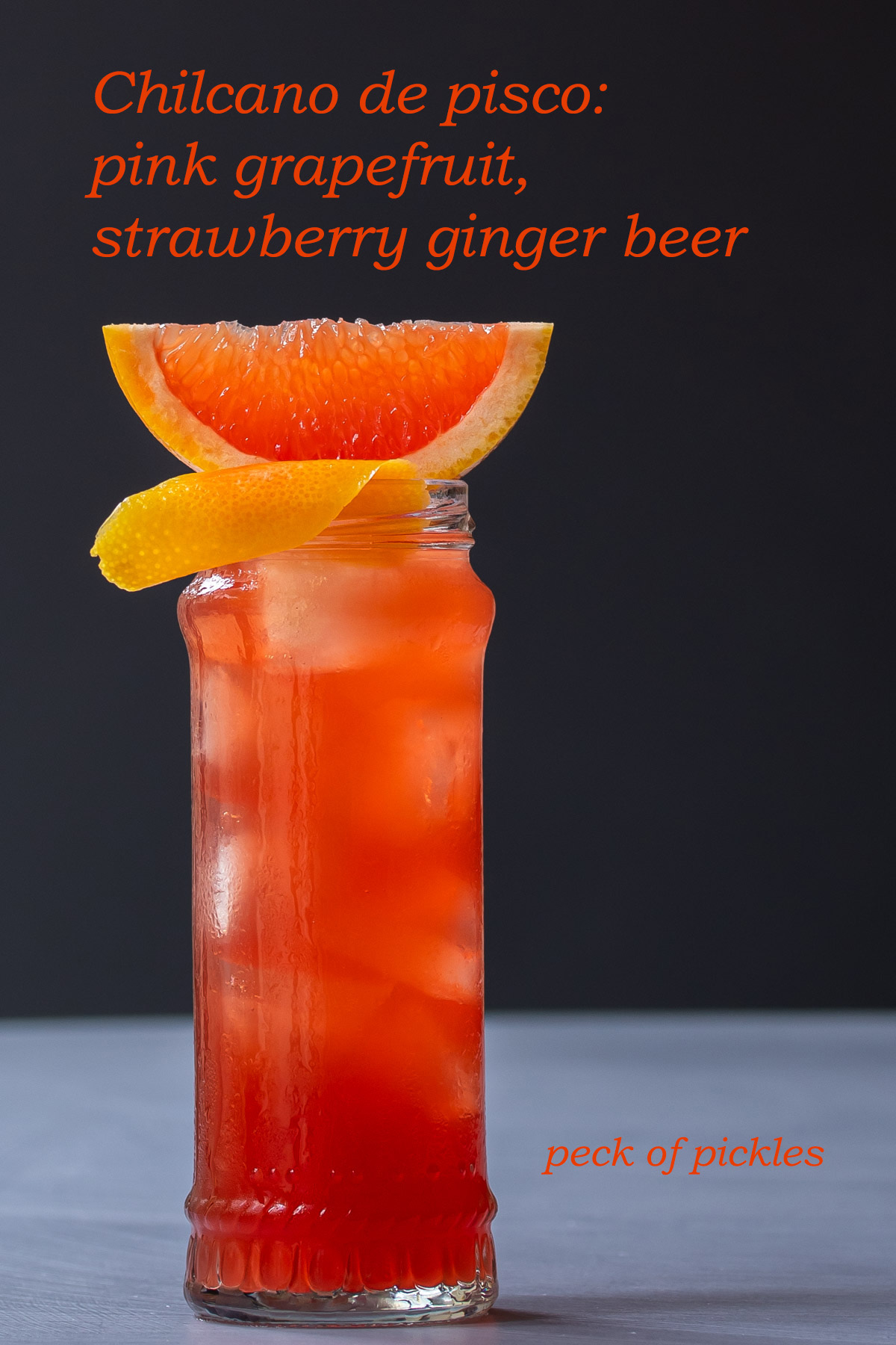 Strawberry ginger beer Chilcano de pisco cocktail