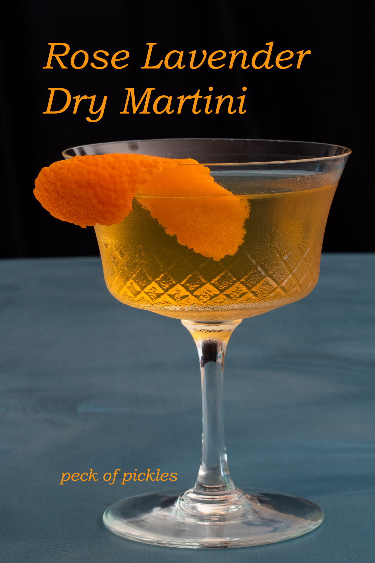 rose lavender dry martini made with cold infused gin