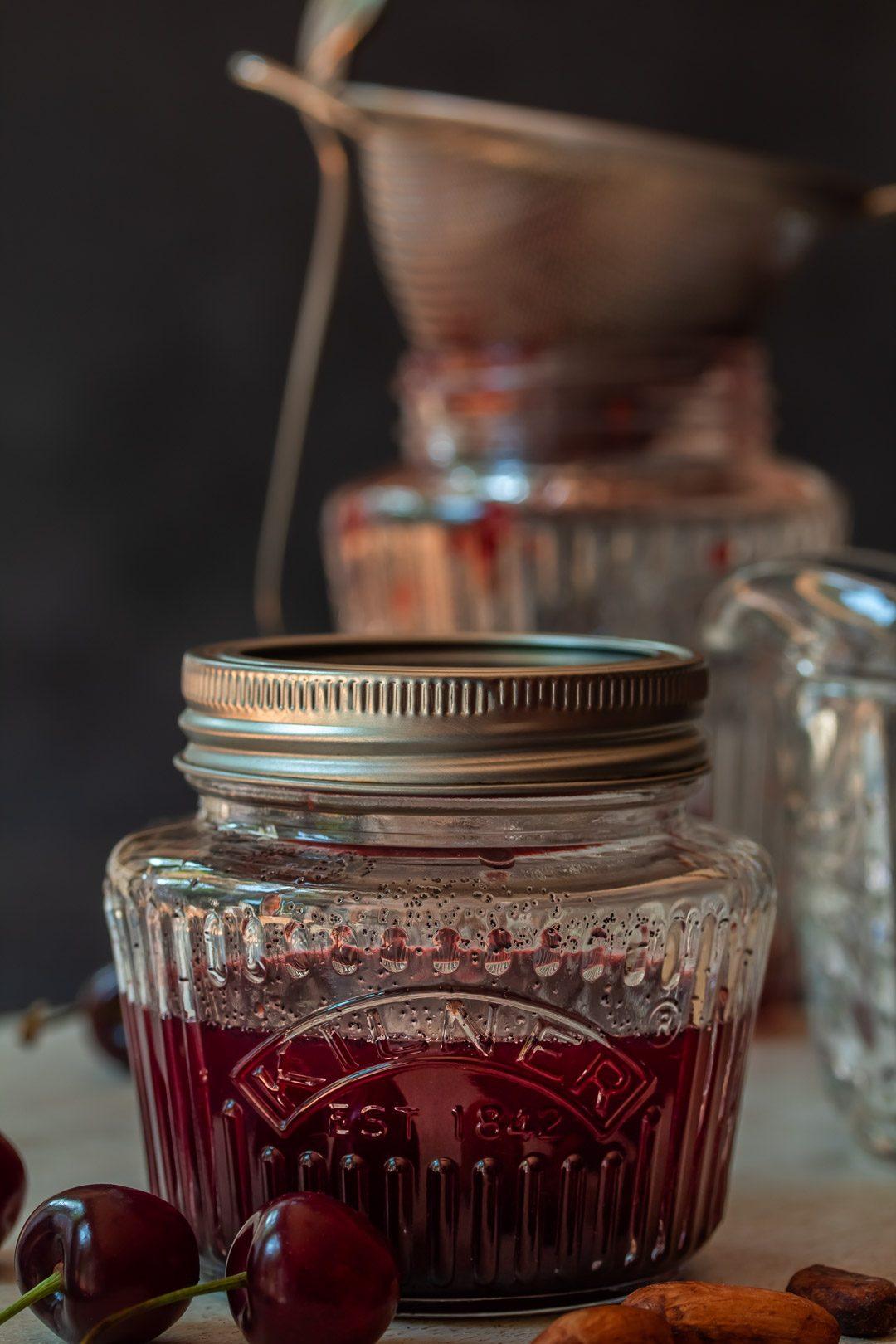 making cherry shrub syrup for cherry shrub brandy daisy