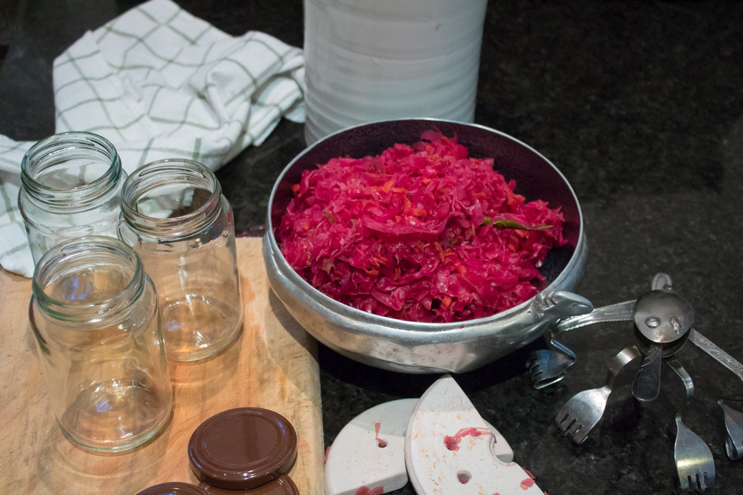 pink-purple sauerkraut decanting