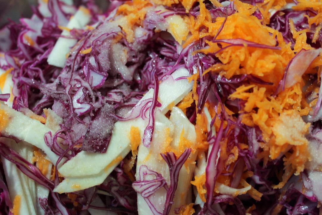 pink-purple sauerkraut ingredients salting