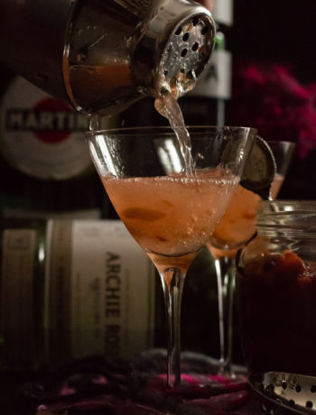 pouring a dirty pickled plum & ume martini