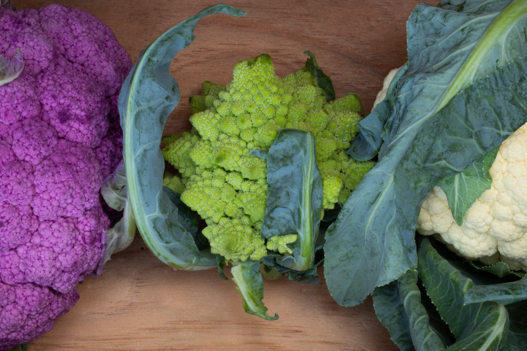 romanesco, purple and white cauliflowers
