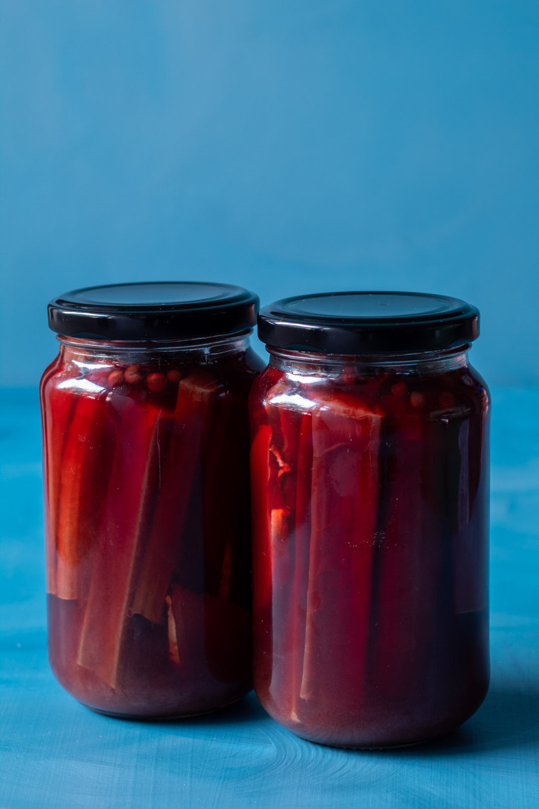 rhubarb pickle in jars