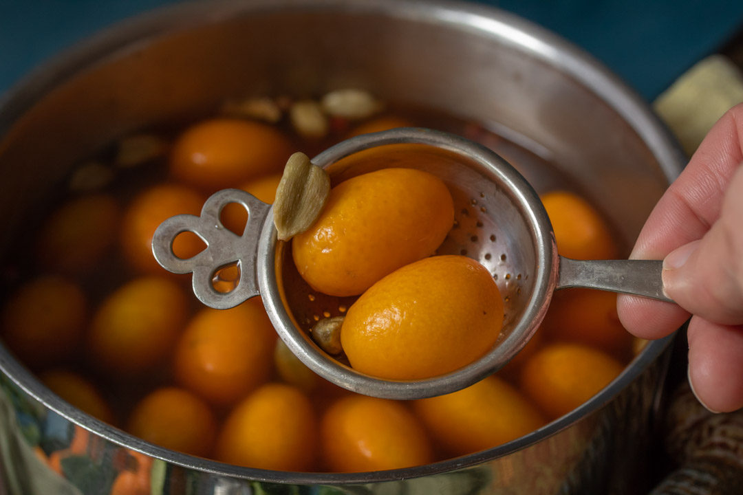 pickling cumquats with strainer