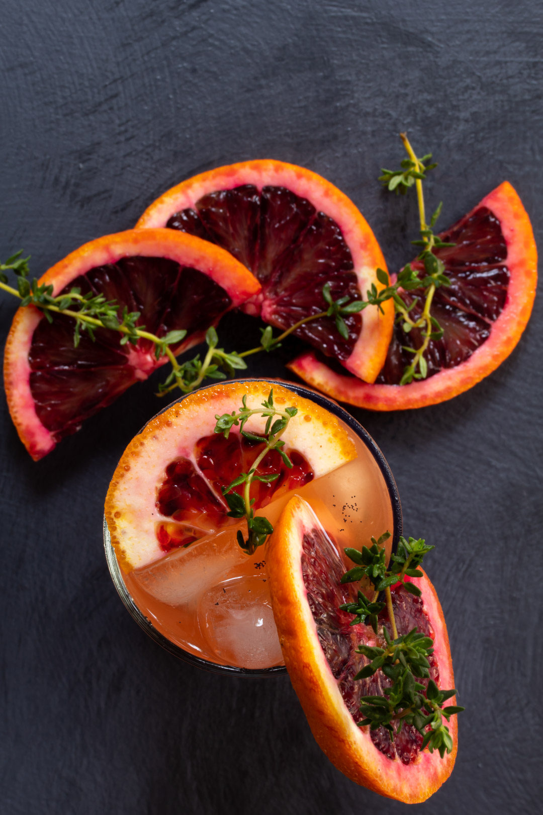 spiced blood orange and thyme shrub